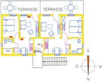 Grundriss der Ferienwohnung Typ 1/2 mit 40m² Wohnfläche, 1 bis 2 Personen - Bild 5: Ostseeurlaub mit Hund - Wassergrundstück - Angeln
