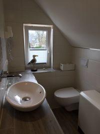 Bad mit Dusche, Waschtisch mit Aufsatzbecken, WC, Fön, Fenster... - Bild 8: Ostseeurlaub Piratennest Darß - Hundeparadies - Wassergrundstück