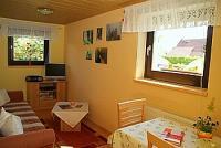 Unser neu renoviertes Wohnzimmer mit gemütlichen Sofa, auch als Schlafsofa,Flachbild SAT - TV und Internet - Anschluß - Bild 8: Fewo Noack Sächsische Schweiz nahe Bad Schandau