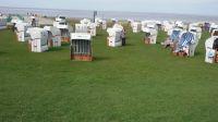 Badestrand mit Strandkörben in Norddeich - Bild 8: Ferienwohnung EG-Deichmuschel I, Norddeich strandnahe Fewo mit Hund