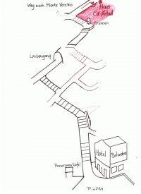 Der Weg geht über Treppen (durch parallele Striche gekennzeichnet) - Bild 2: Ferienwohnung I im Cá Árbul (Valle Cannobina in Italien/Lago Maggiore)