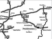 Aus Richtung Ruhrgebiet ist es am einfachsten, wenn Sie über die A44, dann ab Kreuz Werl die A445/A46 in Richtung Meschede fahren.   Aus Richtung Kassel (Über A44) die Ausfahrt Erwitte nehmen und über die B55 in Richtung Meschede, dann über die A46 in Richtung Arnsberg fahren.   Dann: Fahren Sie an der Ausfahrt Wennemen von der A46 ab und dann in Richtung Arnsberg/Freienohl.   In Freienohl folgen Sie der Hauptstrasse bis zur Araltankstelle, an der Sie in Richtung Schmallenberg abbiegen. Nun fahren Sie durch das Dorf Olpe (nicht mit der Stadt am Biggesee verwechseln). Kurz vor Ortsausgang die Vorfahrtstraße Richtung Hellefeld/Sundern (halbrechts) verlassen. Nun etwa 2,5 Kilometer immer geradeaus bis das Ortsdurchgangsschild (grün) Frenkhausen erscheint. - Bild 14: Wunderbare Wanderbasis für Hund und Mensch: Ferienhaus Frenkhausen