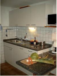 sehr gut ausgestattete Küchenzeile mit Kühlschrank und Microwellenherd. - Bild 8: Ferienunterkunft für 2 Personen, mittlere Schwäbische Alb, ländlich.